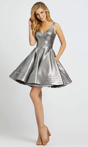 Mac Duggal - 48847I Fit And Flare Metallic Cocktail Dress In Silver & Gray