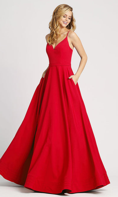 Mac Duggal - 48855I Sleeveless Fitted Bodice A-Line Dress In Red
