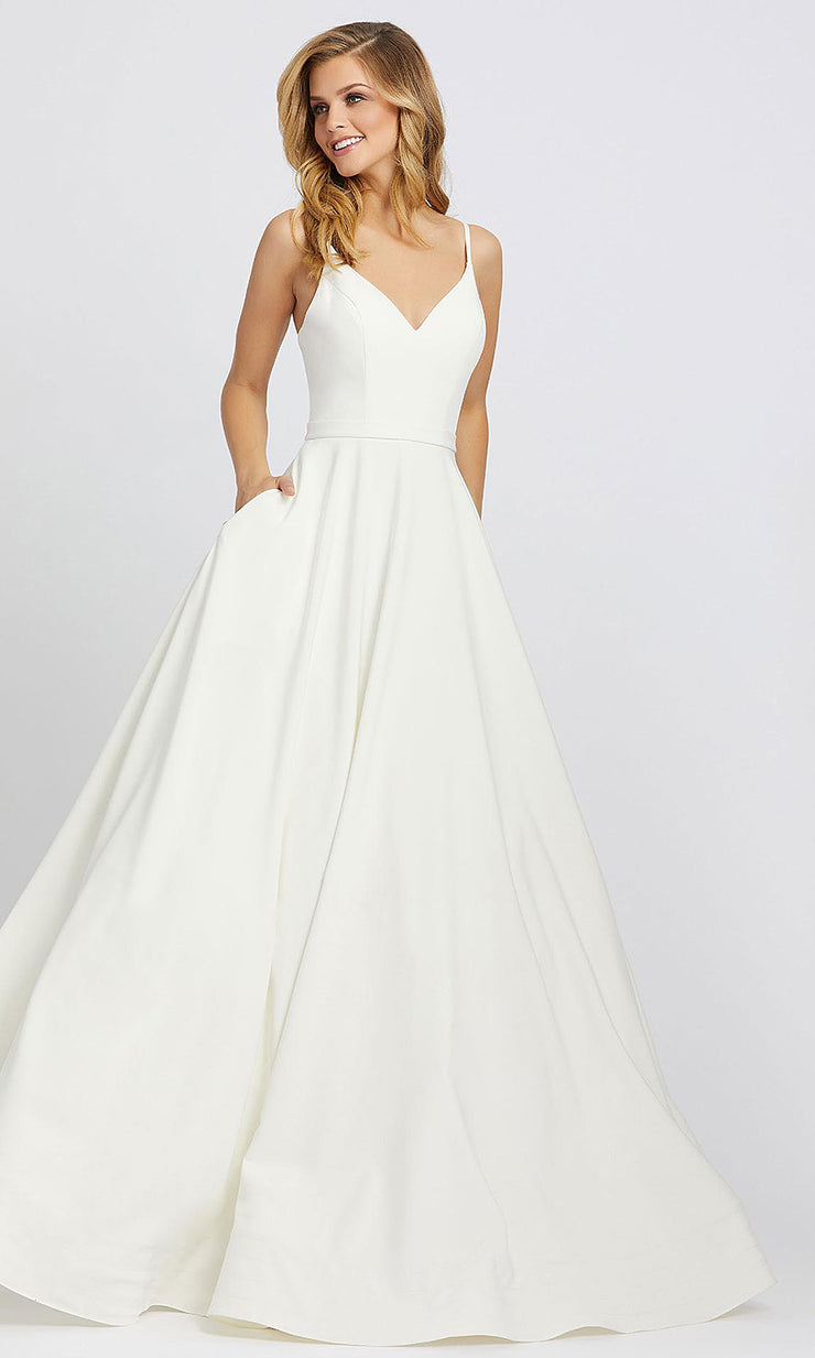 Mac Duggal - 48855I Sleeveless Fitted Bodice A-Line Dress In White & Ivory