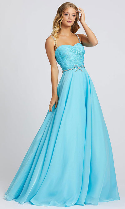 Mac Duggal - 48865A Rhinestone Accent Sweetheart A-Line Gown In Blue