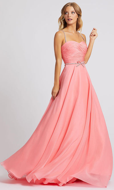 Mac Duggal - 48865A Rhinestone Accent Sweetheart A-Line Gown In Pink
