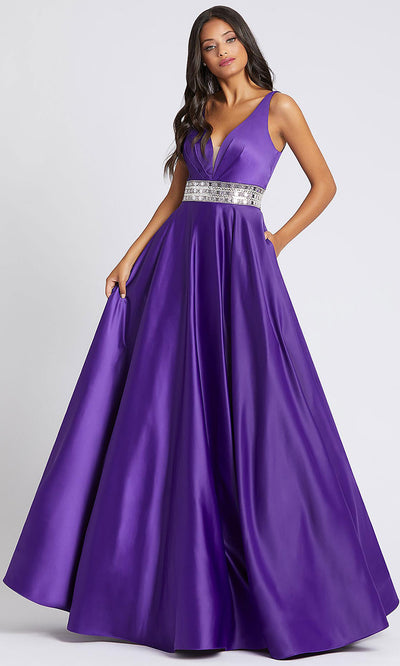 Mac Duggal - 48879A V Neck Embellished Long A-Line Gown In Purple