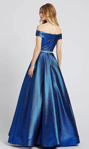 Mac Duggal - 48881L Off Shoulder Crystal Waistband Ballgown In Blue