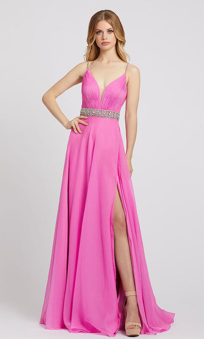 Mac Duggal - 48896L Deep V Neck Embellished A-Line Dress In Pink
