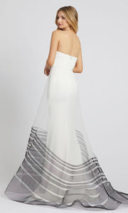 Mac Duggal - 48923L Strapless Illusion Overskirt Dress In White