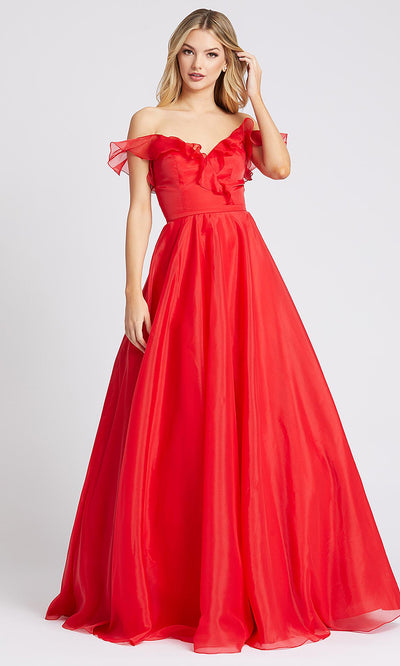 Mac Duggal - 48942I Off Shoulder Ruffled Bodice A-Line Gown In Red