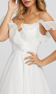 Mac Duggal - 48942I Off Shoulder Ruffled Bodice A-Line Gown In White & Ivory