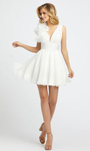 Mac Duggal - 48952I Ruffle V Neck A-Line Cocktail Dress In White & Ivory