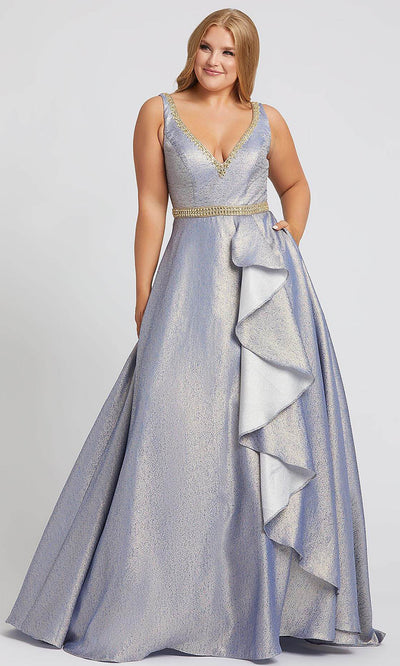 Mac Duggal - 48978F Long Metallic Ruffle Ornate A-Line Dress In Silver & Gray