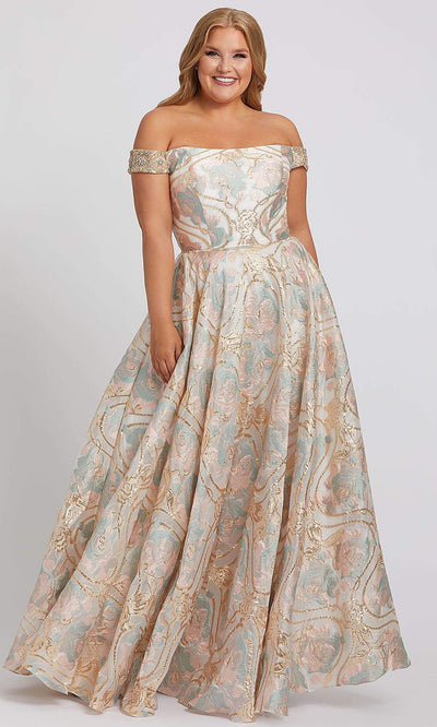 Mac Duggal - 48983F Off Shoulder Pastel Blossom A-Line Dress In Print
