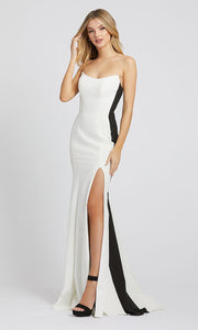 Mac Duggal - 49003L Strapless Contrast Stripe High Slit Dress In White & Ivory