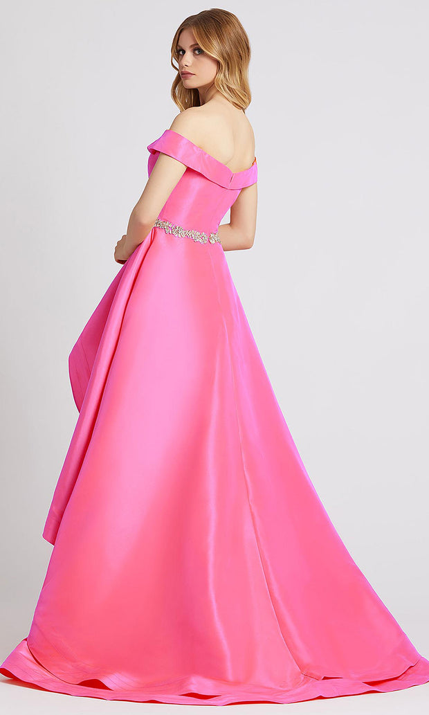 Mac Duggal - 49004A Off Shoulder High Slow Long Dress In Pink