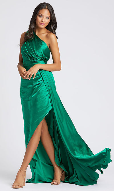 Mac Duggal - 49006A One Shoulder Flowy Satin Evening Gown In Green