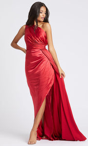 Mac Duggal - 49006A One Shoulder Flowy Satin Evening Gown In Red