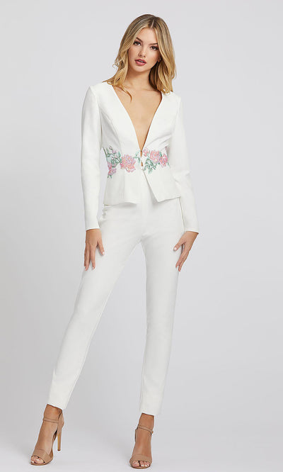 Mac Duggal - 49033I Floral Long Sleeves Fitted Jumpsuit In White & Ivory