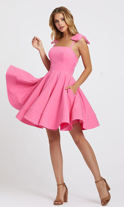 Mac Duggal - 49034I Bow Accent Shoulder Fit And Flare Dress In Pink