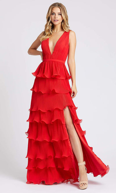 Mac Duggal - 49054I Sleeveless Tiered High Slit A-Line Dress In Red