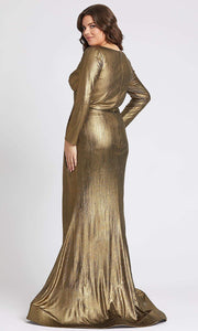 Mac Duggal - 49073F Long Sleeve Metallic Wrap Mermaid Dress In Champagne & Gold