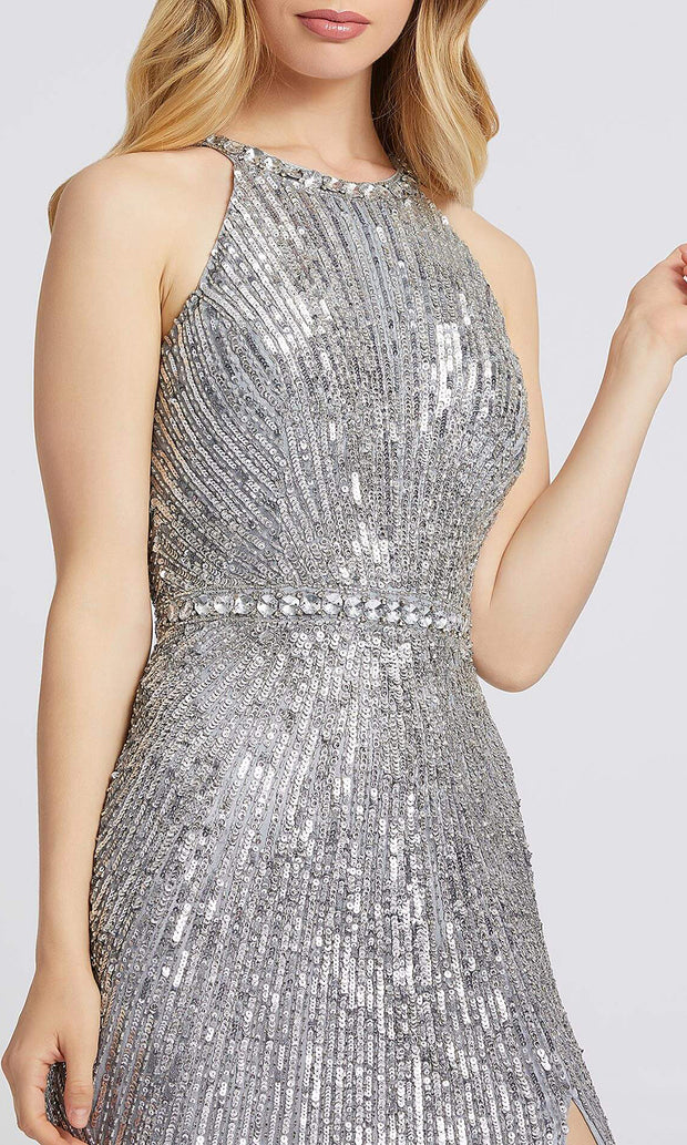 Mac Duggal - 4963A Sequined Halter Bodice High Slit Dress In Silver & Gray