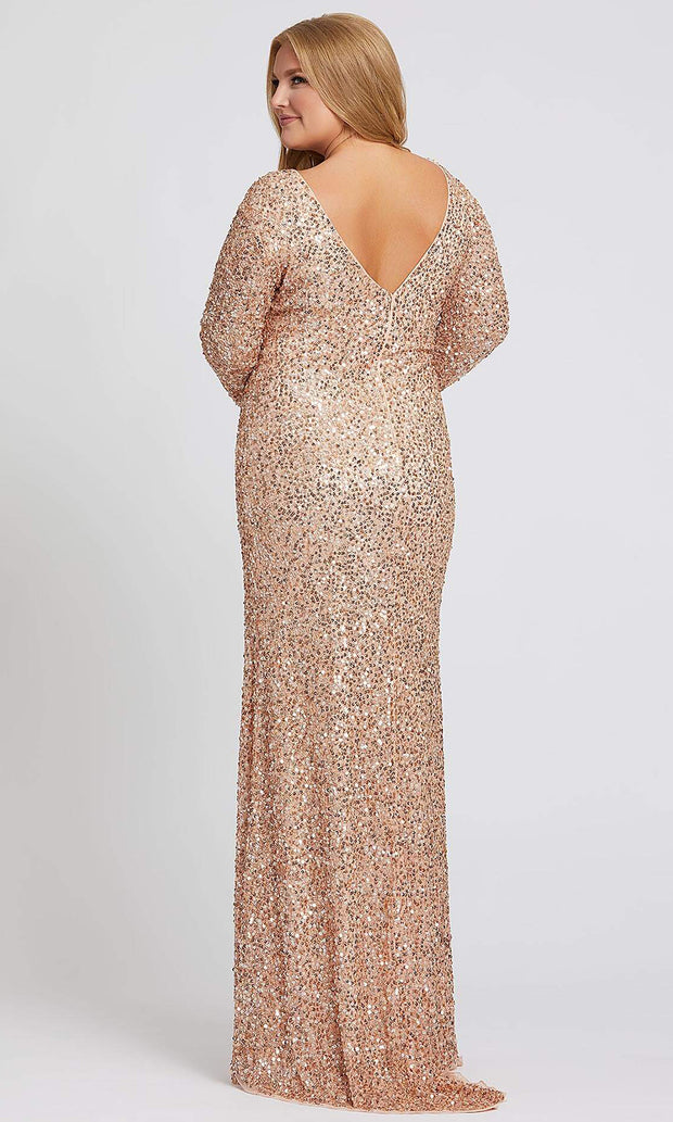 Mac Duggal - 5012F Long Sleeve Sequin-Ornate High Slit Dress In Champagne & Gold