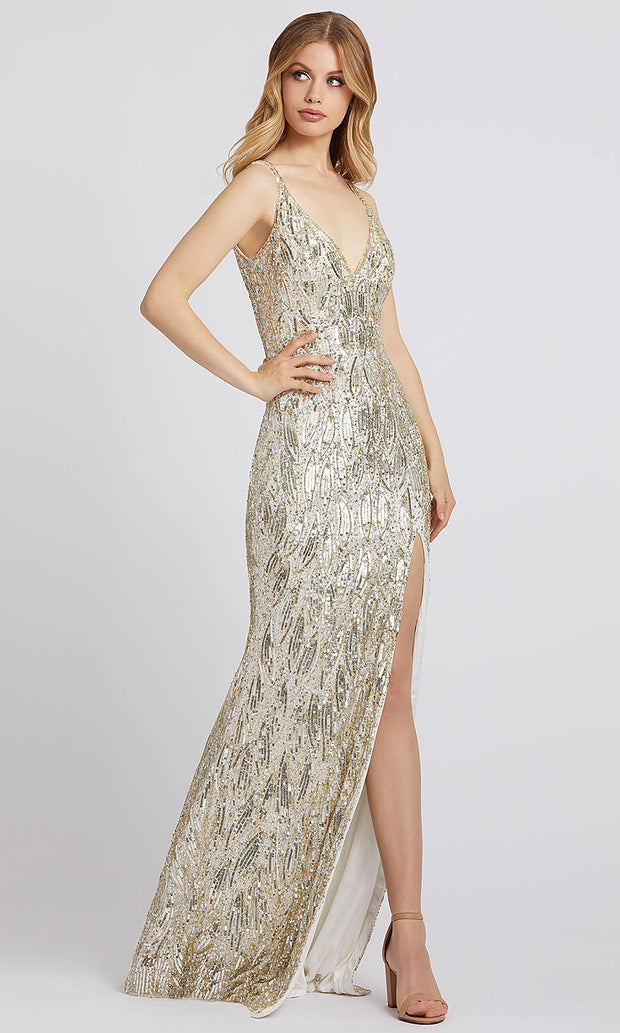 Mac Duggal - 5018A Sequined V-Neck High Slit Long Dress In Champagne & Gold