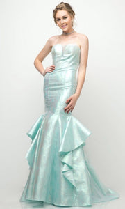 Cinderella Divine - A5033 Jacquard Ruffle Mermaid Gown In Green