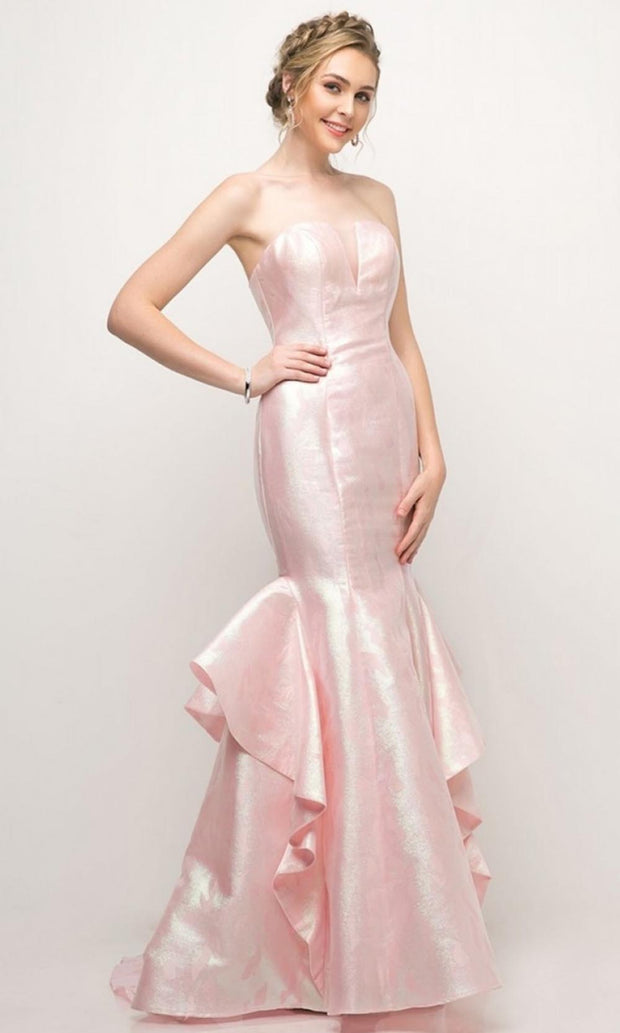 Cinderella Divine - A5033 Jacquard Ruffle Mermaid Gown In Pink