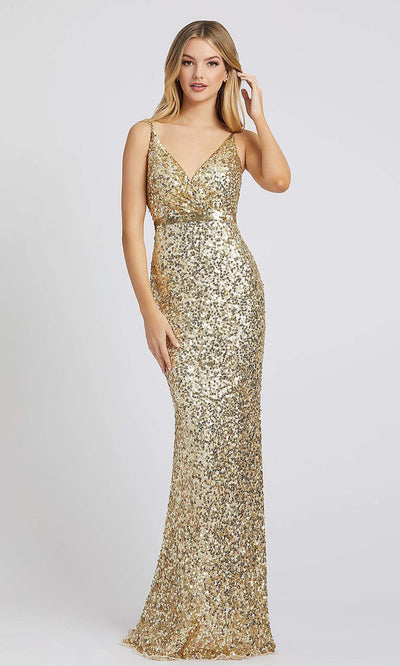 Mac Duggal - 5055L Embellished Sheath Evening Gown In Gold