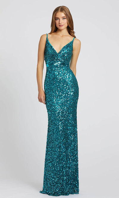 Mac Duggal - 5055L Embellished Sheath Evening Gown In Blue