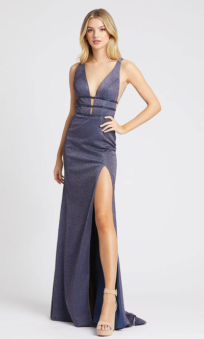 Mac Duggal - 50571L Metallic Beaded Strap High Slit Dress In Blue