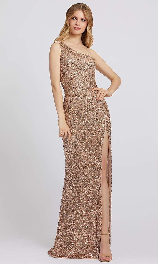 Mac Duggal - 5059A Sequined Asymmetric Sheath Dress In Gold