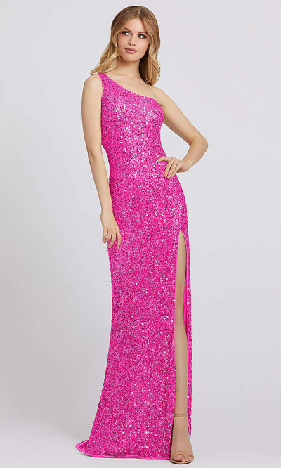 Mac Duggal - 5059A Sequined Asymmetric Sheath Dress In Pink