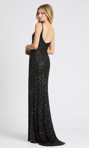 Mac Duggal - 5064L V Neck High Leg Slit Sequin Evening Gown In Black