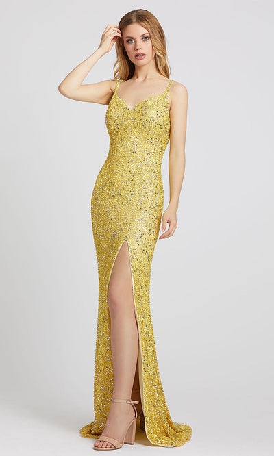 Mac Duggal - 5064L V Neck High Leg Slit Sequin Evening Gown In Yellow