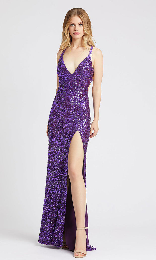 Mac Duggal - 5066L Strappy Sequined V Neck Gown With Slit In Purple