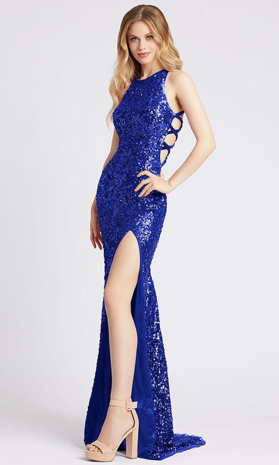 Mac Duggal - 5069A Sequined Strappy Detailed High Slit Dress In Blue