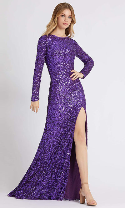 Mac Duggal - 5080A Long Sleeve Plunging Back Sequined Dress In Purple