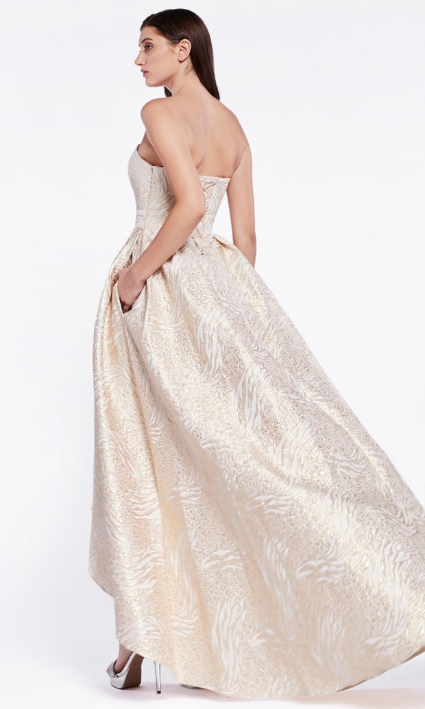 Cinderella Divine - 5134 Strapless High-Low A-Line Gown In Champagne & Gold
