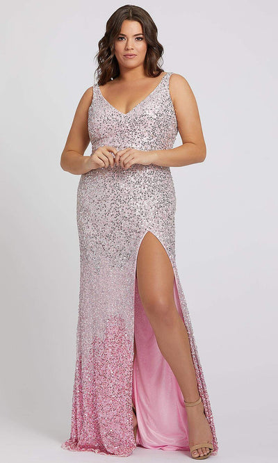 Mac Duggal - 5152F Ombre Sequins V Neck Gown With Slit In Pink