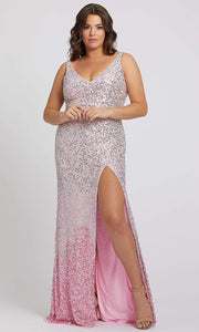 Mac Duggal - 5152F Ombre Sequins V Neck Gown With Slit