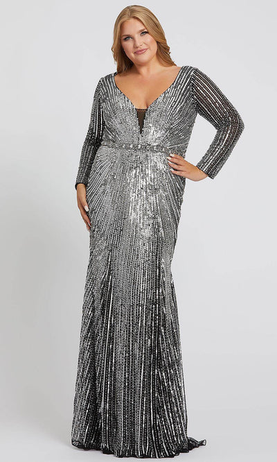Mac Duggal - 5176F Sequined Deep V Neck Sheath Dress In Black and Silver