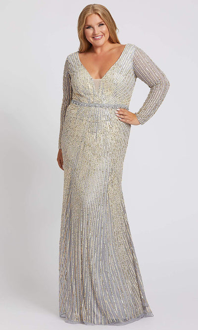 Mac Duggal - 5176F Sequined Deep V Neck Sheath Dress In Silver
