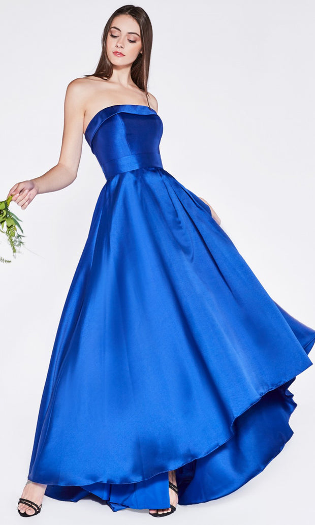 Cinderella Divine - 5277 High Low A-Line Mikado Gown In Blue