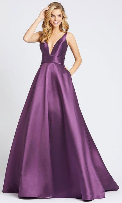 Mac Duggal - 55010I Sleeveless Plunged V Neck Ballgown In Purple
