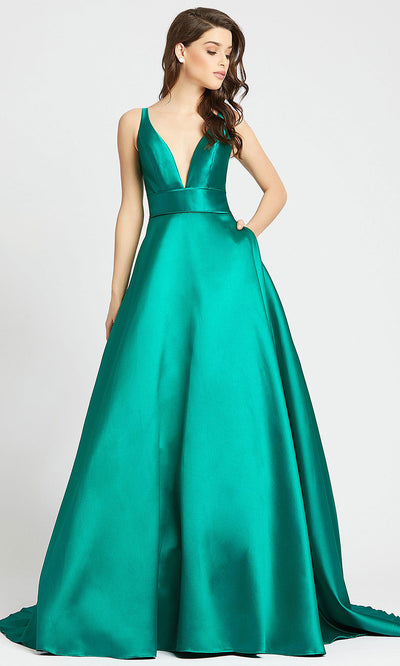 Mac Duggal - 55010I Sleeveless Plunged V Neck Ballgown In Green