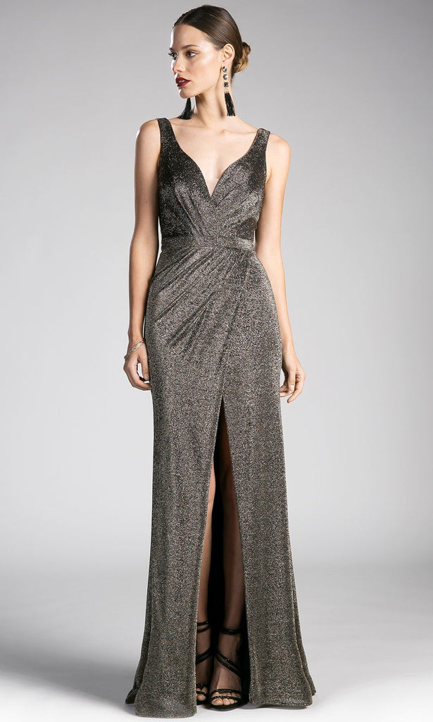 a04d22b6bce This light gold formal evening shimmery Long champagne glitter strappy  fitted dress with high slit.This light gold formal evening shimmery ...
