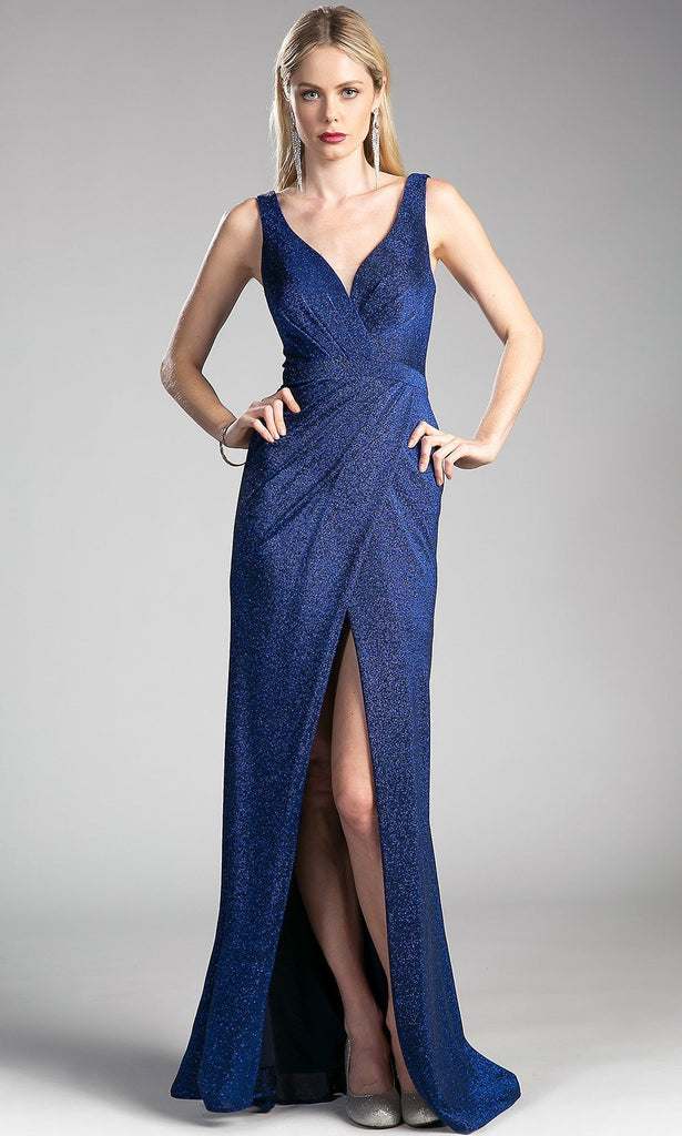 Long navy blue glitter strappy fitted dress with high slit.This dark blue formal evening shimmery sleek and sexy gown is perfect for bridesmaid dresses,prom dress,formal party,gala,charity event.Plus size high slit dress avail.