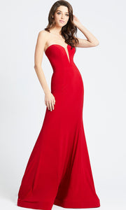 Mac Duggal - 55233L Sheer Deep Sweetheart Neck Mermaid Gown In Red