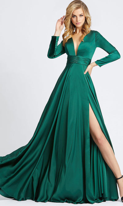 Mac Duggal - 55245I V Neck Long Sleeves Gown With Slit In Green