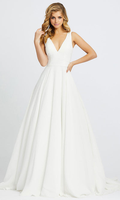 Mac Duggal - 55272I Plunging V Neck Ballgown In White